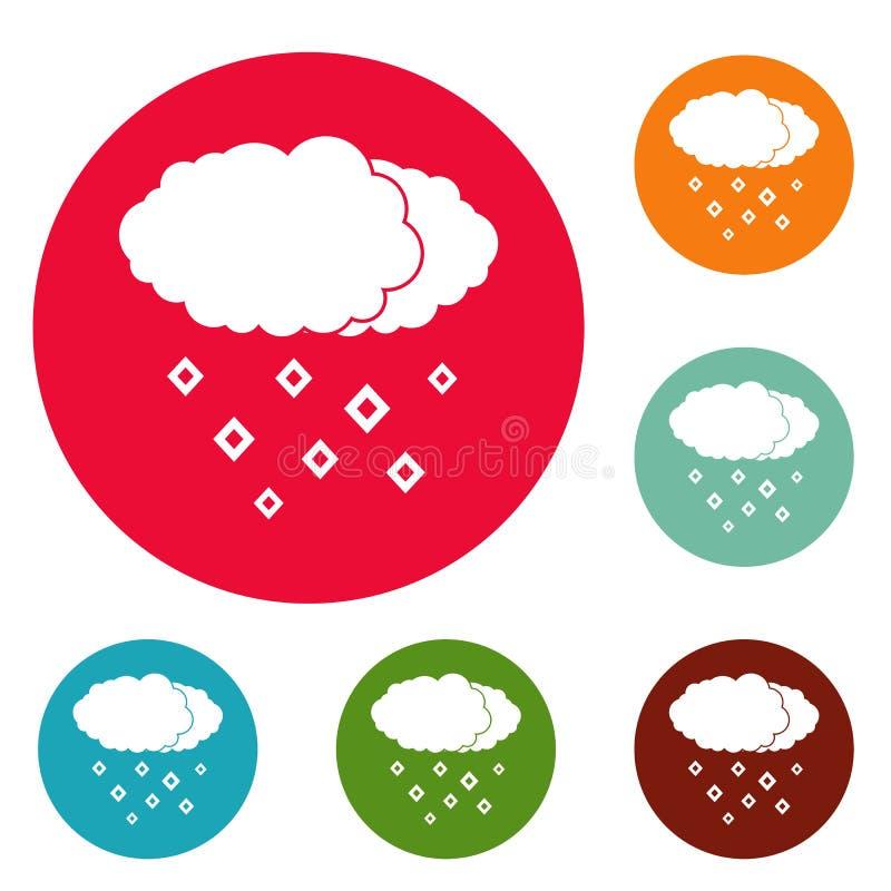 Grupo do círculo dos ícones da nuvem da neve ilustração do vetor