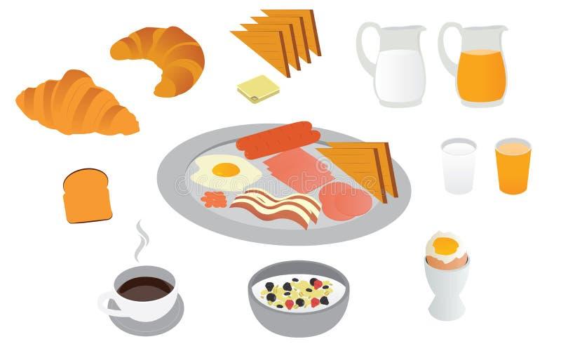 Grupo do café da manhã do bom dia ilustração royalty free