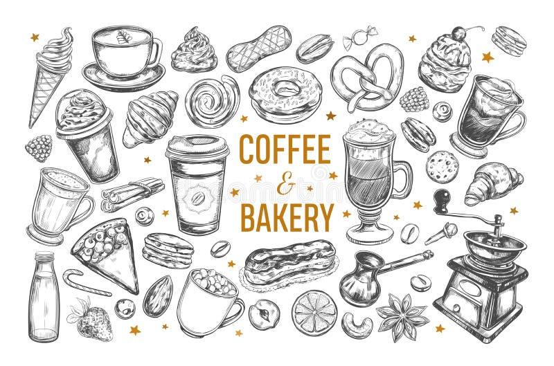 Grupo do café e da padaria imagem de stock royalty free