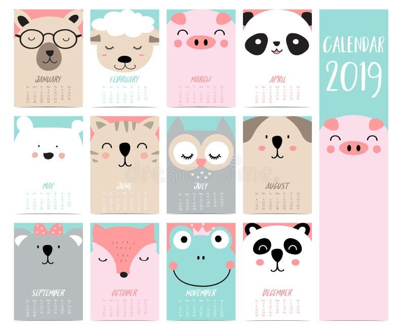 Grupo 2019 do calendário da garatuja com urso, porco, panda, carneiro, gato, coruja, raposa, f ilustração do vetor