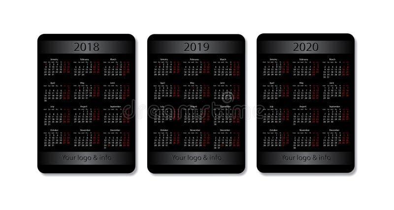 Grupo do calendário do bolso do vetor 2018, 2019 e 2020 anos Molde preto do projeto com lugar da propaganda ilustração stock