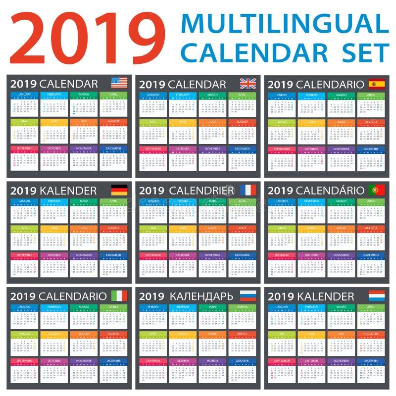 Grupo do calendário 2019 - inglês, americano, espanhol, alemão, português, francês, italiano, russo, holandês ilustração stock