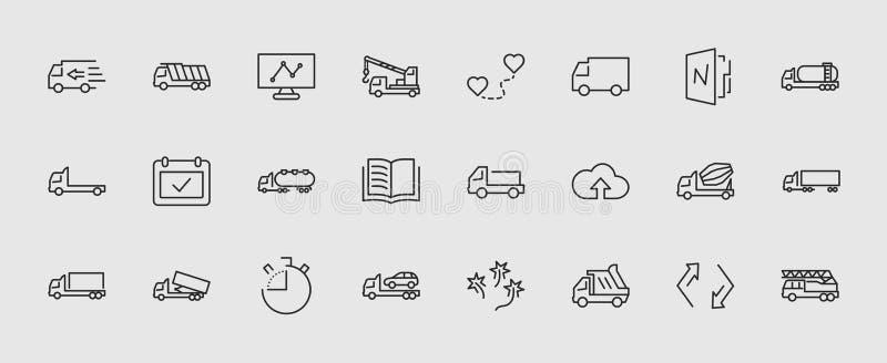Grupo do caminhão de linha ícones do vetor do transporte Contém ícones como o caminhão, transporte, Tow Truck, guindastes, mistur ilustração royalty free