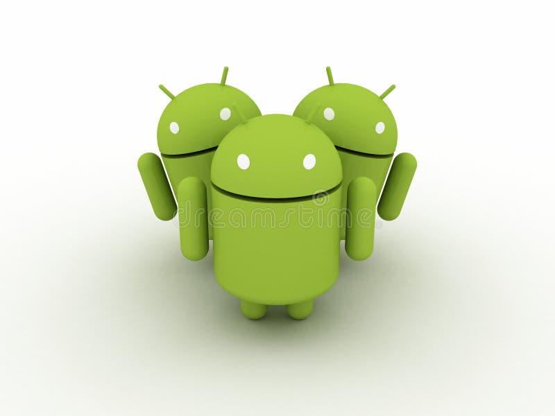 Grupo do caráter do Android ilustração stock