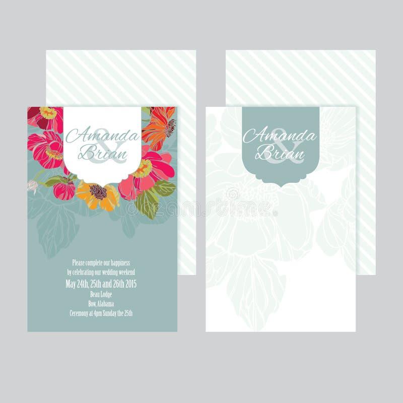 Grupo do cartão 02 dos convites do casamento ilustração stock