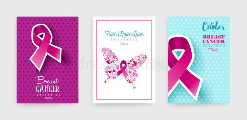 Grupo do cartaz da fita do rosa da conscientização do câncer da mama ilustração do vetor