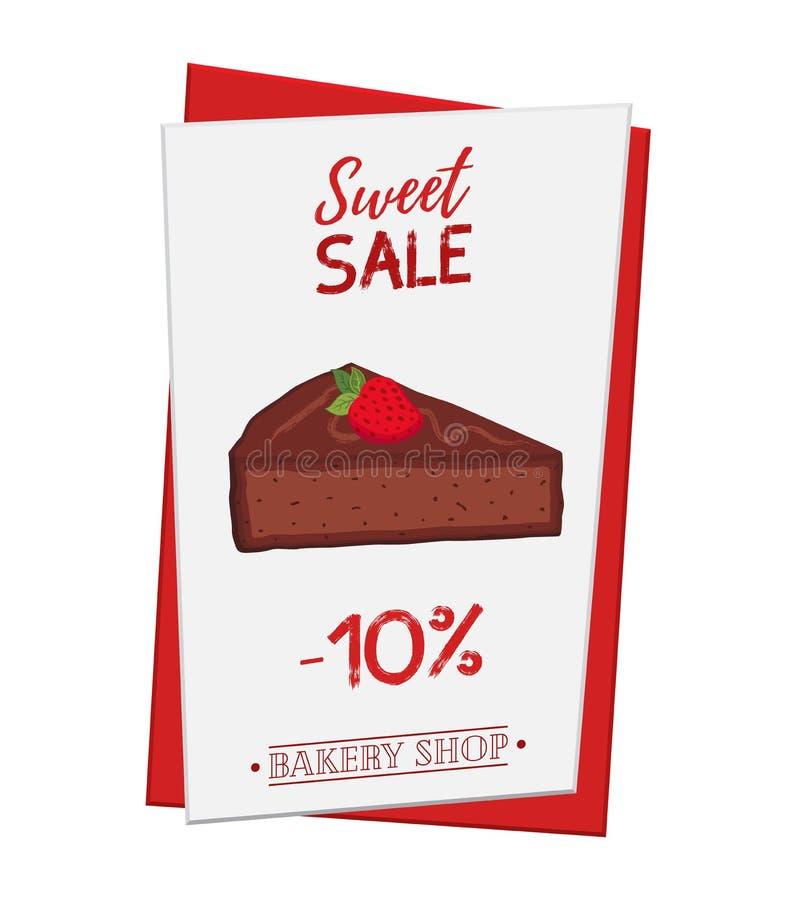 Grupo do cartaz da pastelaria, bandeira para a venda da brownie Promo, adverti ilustração stock