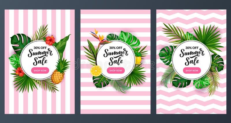 Grupo do cartaz do desconto da venda do verão Molde tropical do projeto da bandeira Fundo das folhas de palmeira do verde dos des ilustração stock