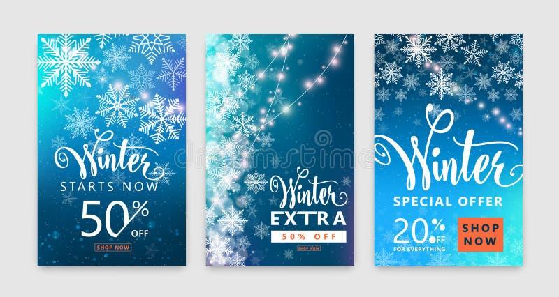 Grupo do cartaz do inverno Projeto do fundo da venda da cor com neve do Natal, floco de neve ilustração do vetor