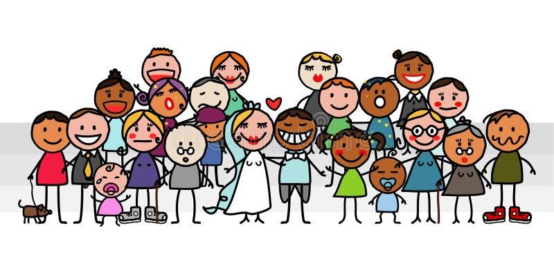 Grupo do casamento ilustração stock