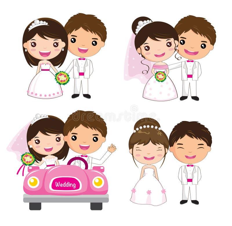 Grupo do casamento dos desenhos animados ilustração do vetor