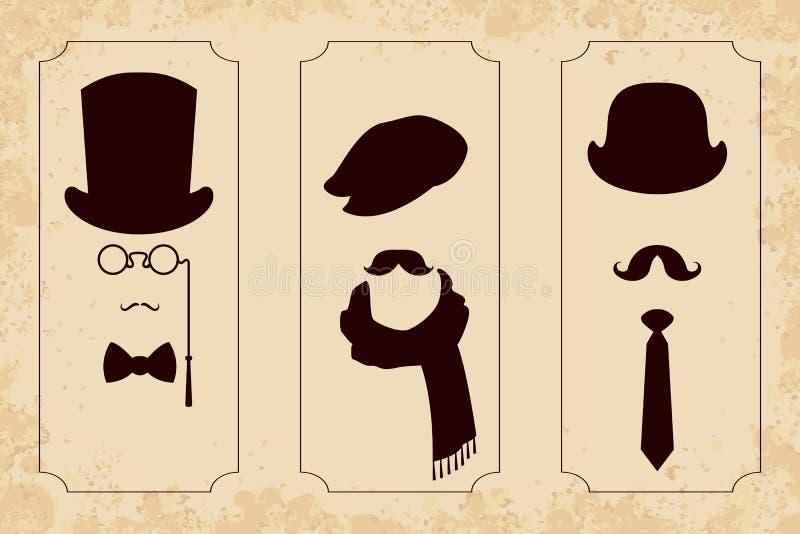 Grupo do cavalheiro do vintage ilustração do vetor