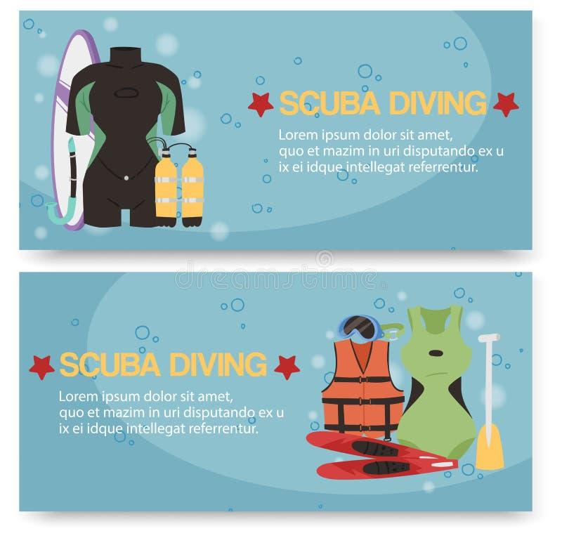 Grupo do centro do mergulho autônomo de ilustração do vetor das bandeiras Roupa de mergulho do mergulhador, m?scara do mergulhado ilustração stock