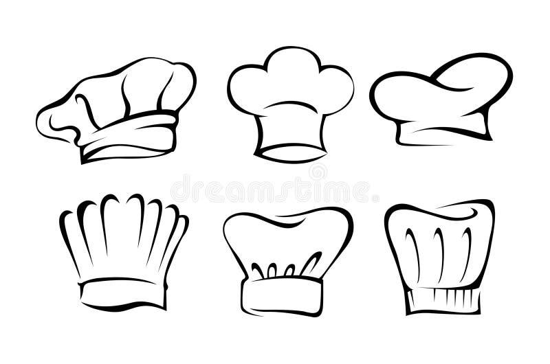 Grupo do chapéu do cozinheiro chefe ilustração royalty free