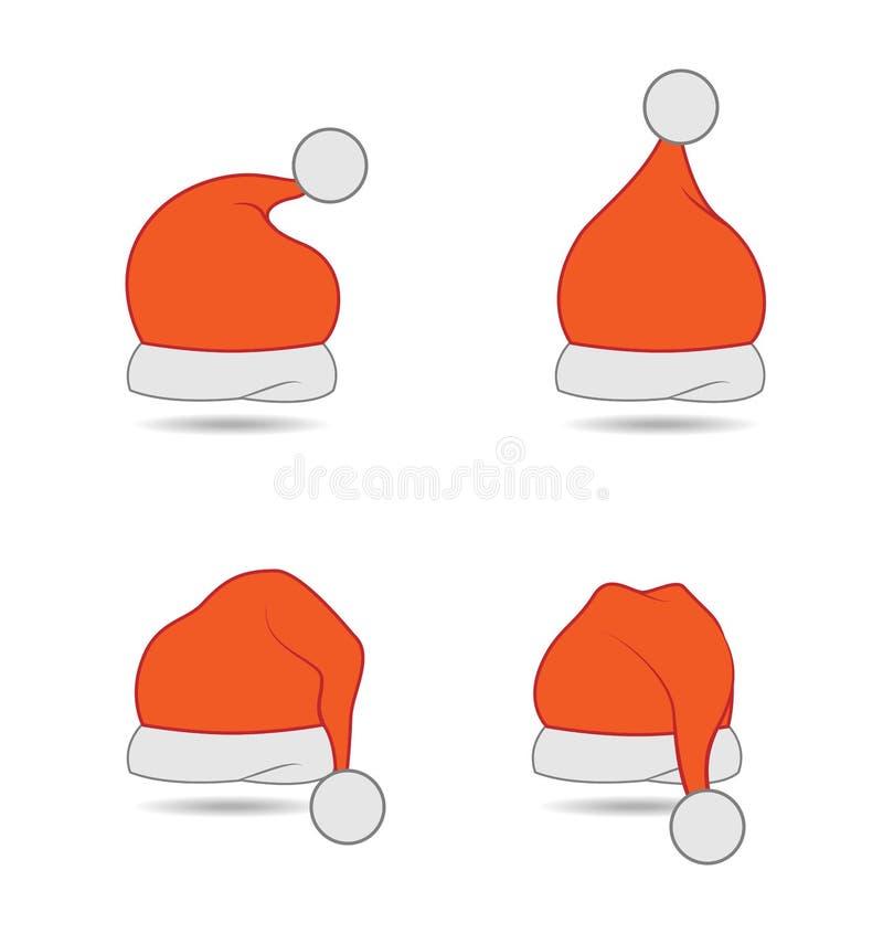 Grupo do chapéu do Natal ilustração stock