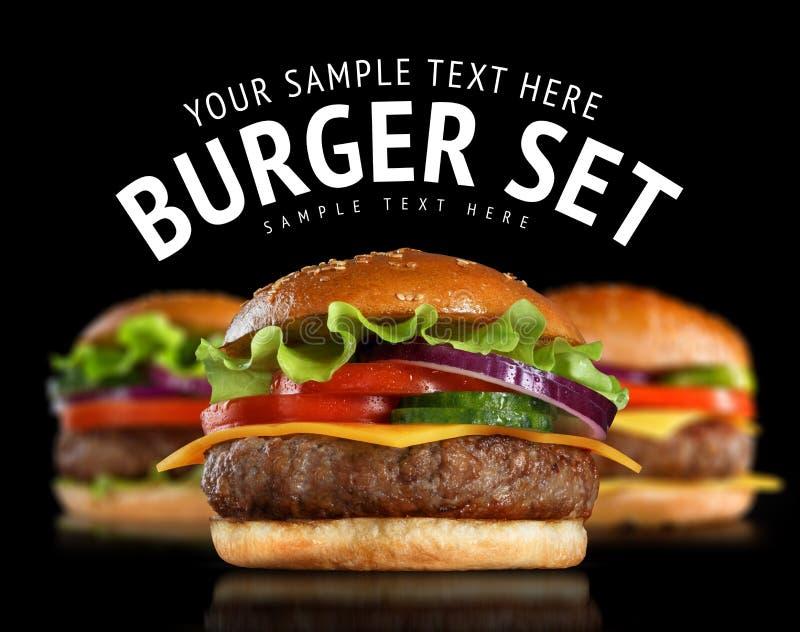Grupo do cheeseburger fotografia de stock
