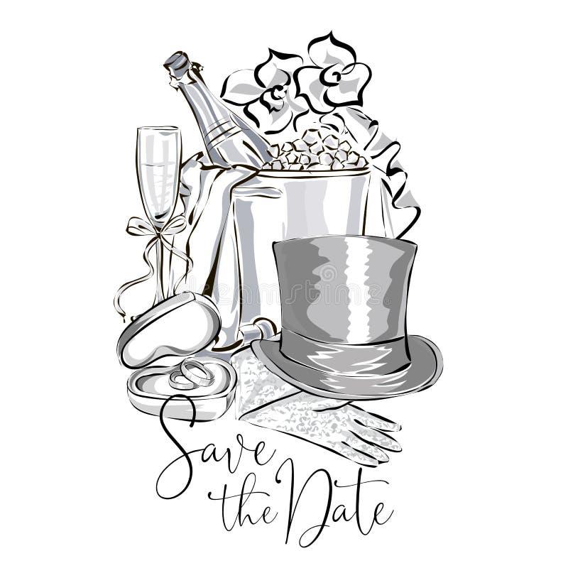 Grupo do clipart do casamento com a garrafa do champanhe na cubeta de gelo, o vidro de vinho, o ramalhete da flor, as alianças de ilustração do vetor