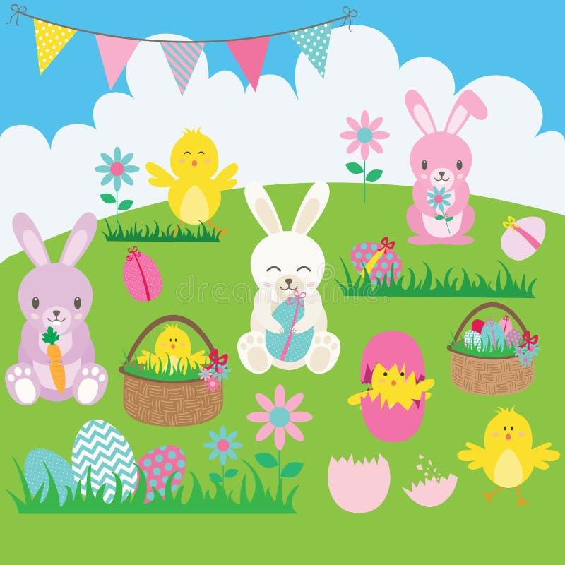 Grupo do coelhinho da Páscoa Cesta, flor, coelho, estamenha, ovo da páscoa, pintainhos da Páscoa ilustração stock