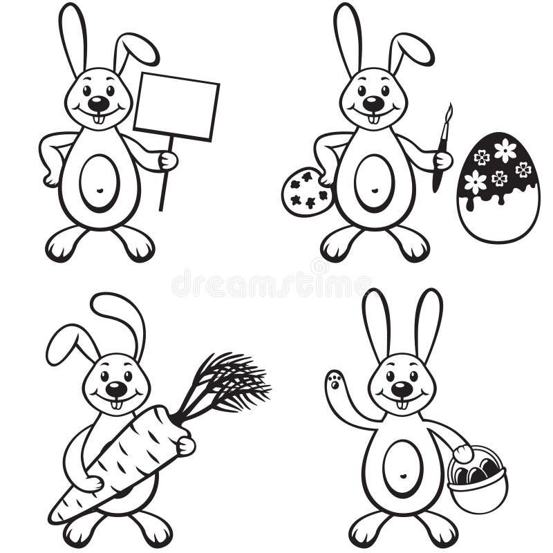 Grupo do coelho dos desenhos animados ilustração stock