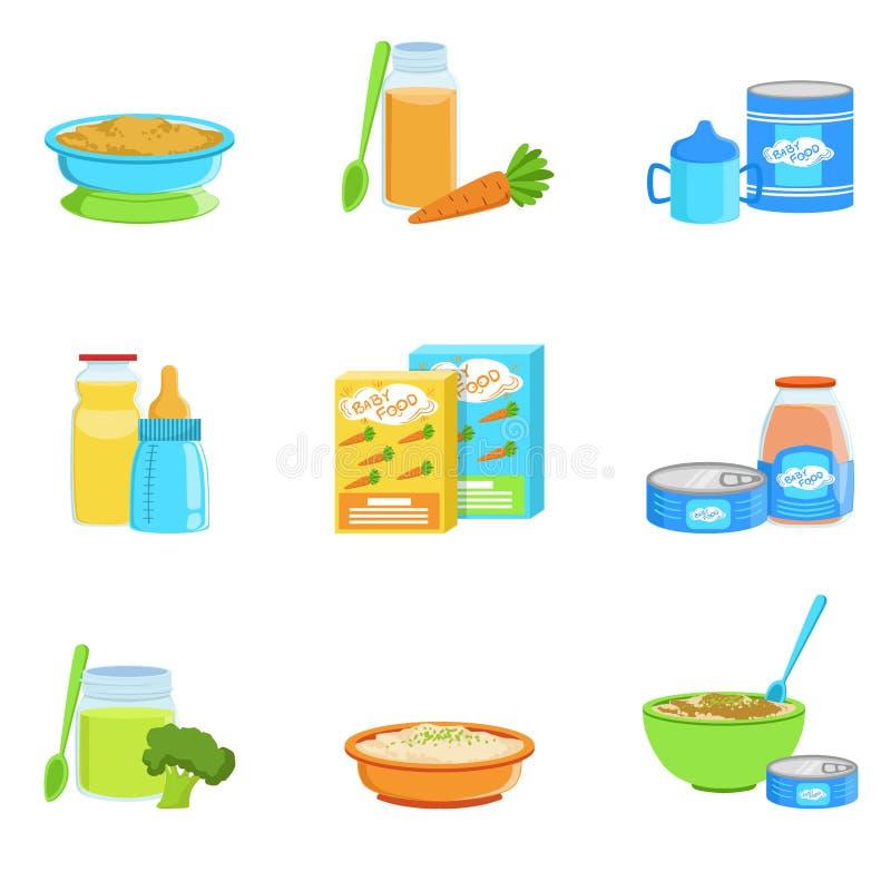 Grupo do comida para bebê e de produtos de ícones ilustração do vetor