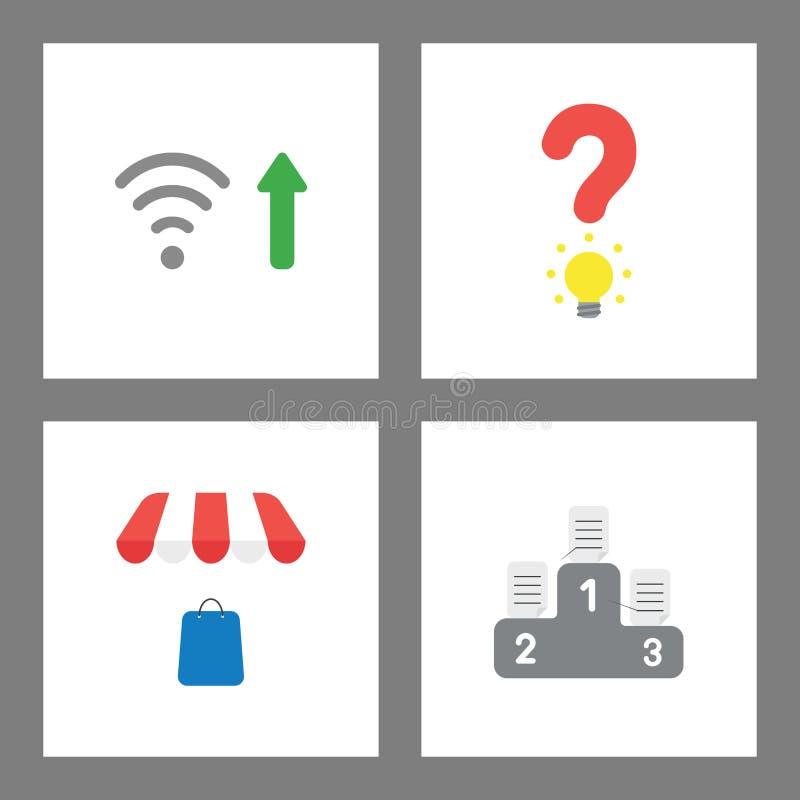 Grupo do conceito do ícone Sinal de Wifi acima, ampola do ponto de interrogação, saco de compras sob o toldo da loja, escrito pap ilustração stock