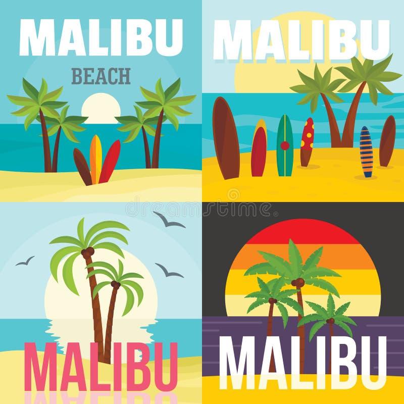 Grupo do conceito da bandeira da ressaca da praia de Malibu, estilo liso ilustração royalty free