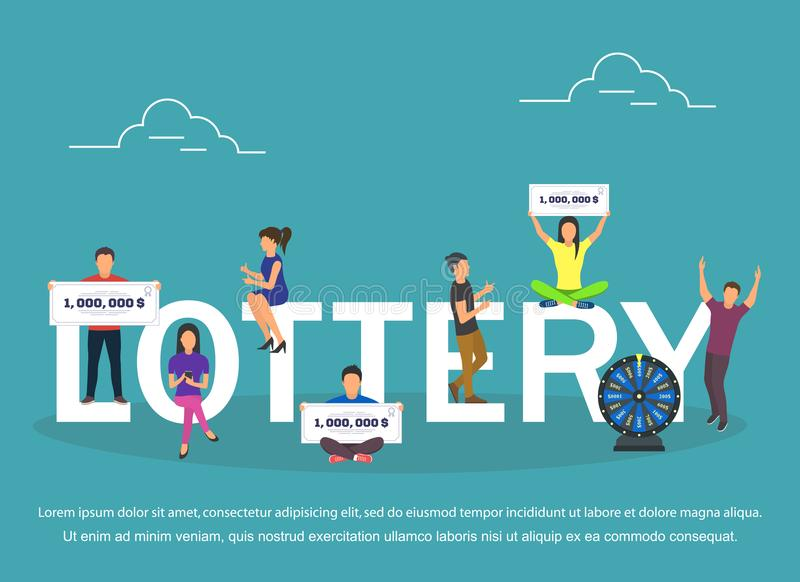 Grupo do conceito da loteria com projeto liso de vencimento das combinações ilustração royalty free