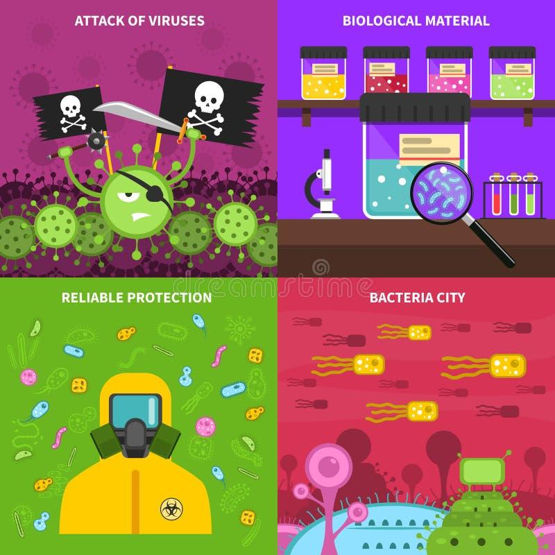 Grupo do conceito da microbiologia ilustração do vetor