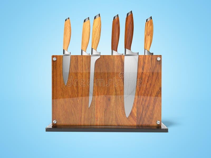 Grupo do conceito de facas de cozinha no suporte de madeira 3d para render a ilustração no fundo azul com sombra ilustração do vetor