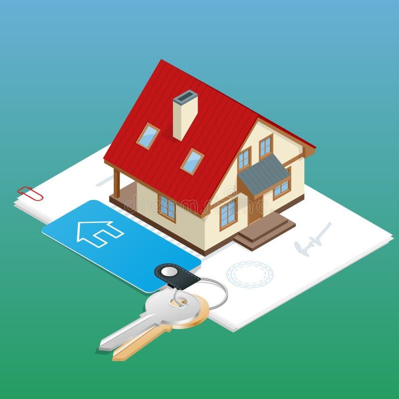 Grupo do conceito de projeto dos bens imobiliários com o mercado alugado do apartamento em linha da busca que compra 3d liso veto ilustração do vetor