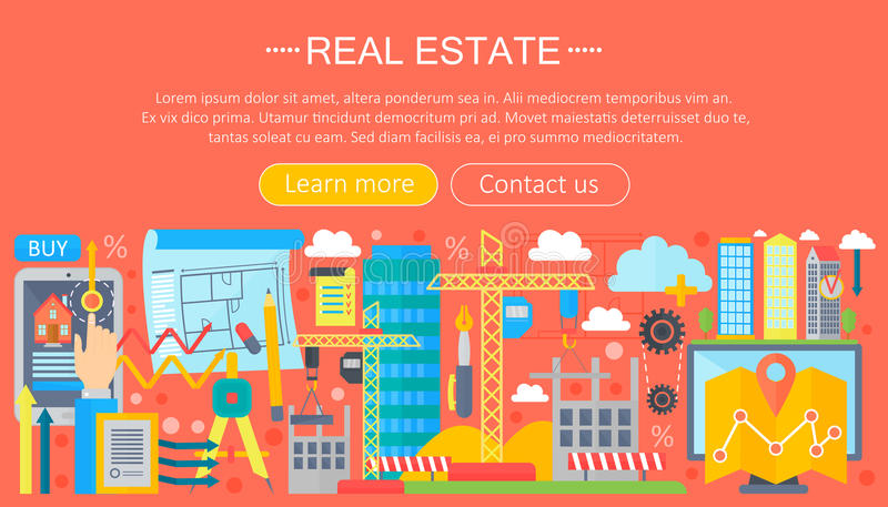 Grupo do conceito de projeto dos bens imobiliários com o mercado alugado do apartamento em linha da busca que compra o projeto li ilustração stock