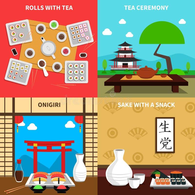 Grupo do conceito do sushi ilustração royalty free