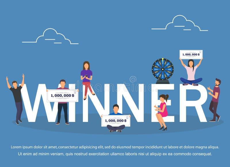 Grupo do conceito do vencedor com projeto liso de vencimento das combinações ilustração do vetor