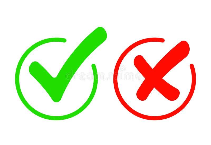 Grupo do ?cone da marca de verifica??o Tiquetaque de Gree e simbol liso transversal vermelho Verifique aprovado, SIM ou não, X ma ilustração stock