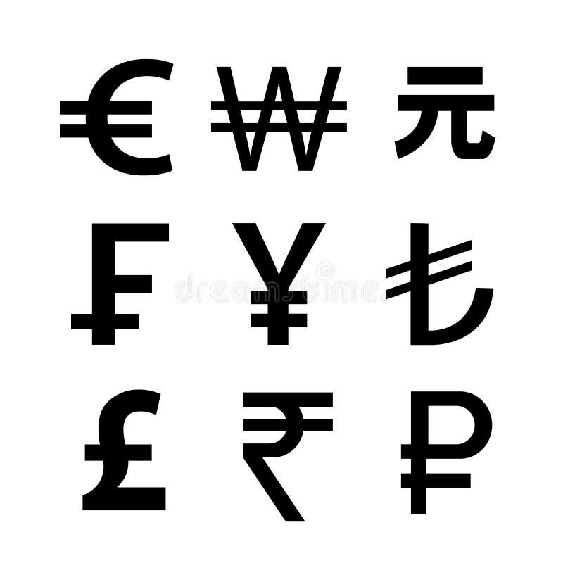 Grupo do ?cone da moeda Dinheiro Sign ilustração do vetor