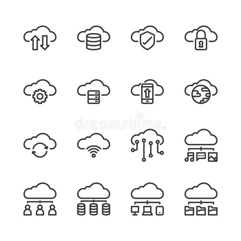 Grupo do ?cone da tecnologia da nuvem Ilustra??o do vetor ilustração royalty free