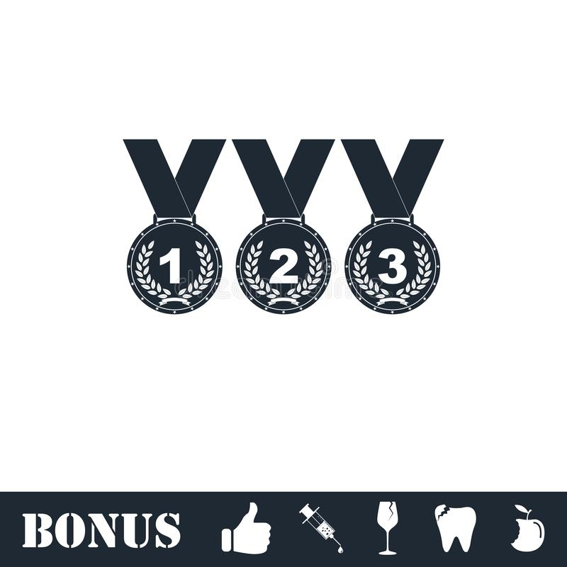 Grupo do ?cone de prata das medalhas de bronze do ouro horizontalmente ilustração royalty free