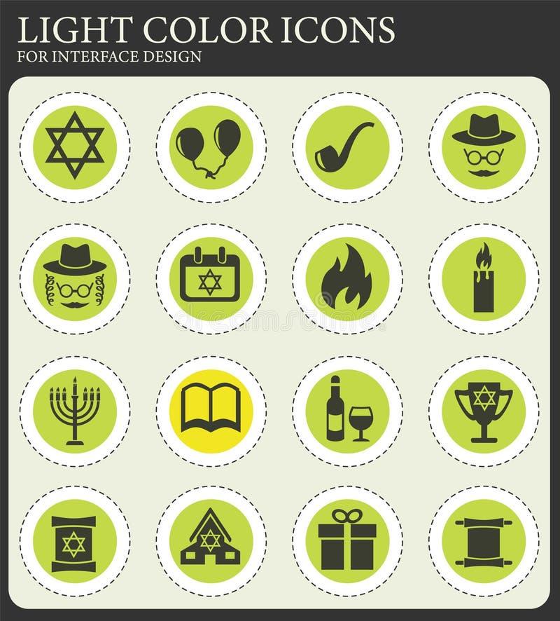 Grupo do ?cone do Hanukkah ilustração royalty free