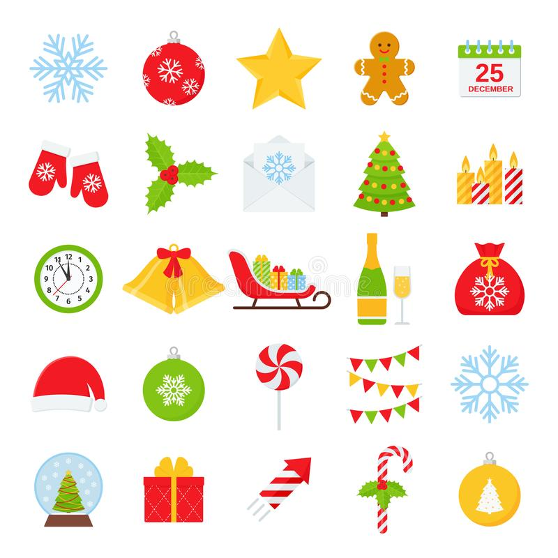 Grupo do ?cone do inverno do Natal Ilustra??o do vetor no projeto liso ilustração royalty free