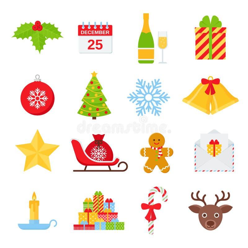 Grupo do ?cone do inverno do Natal Ilustra??o do vetor no projeto liso ilustração do vetor