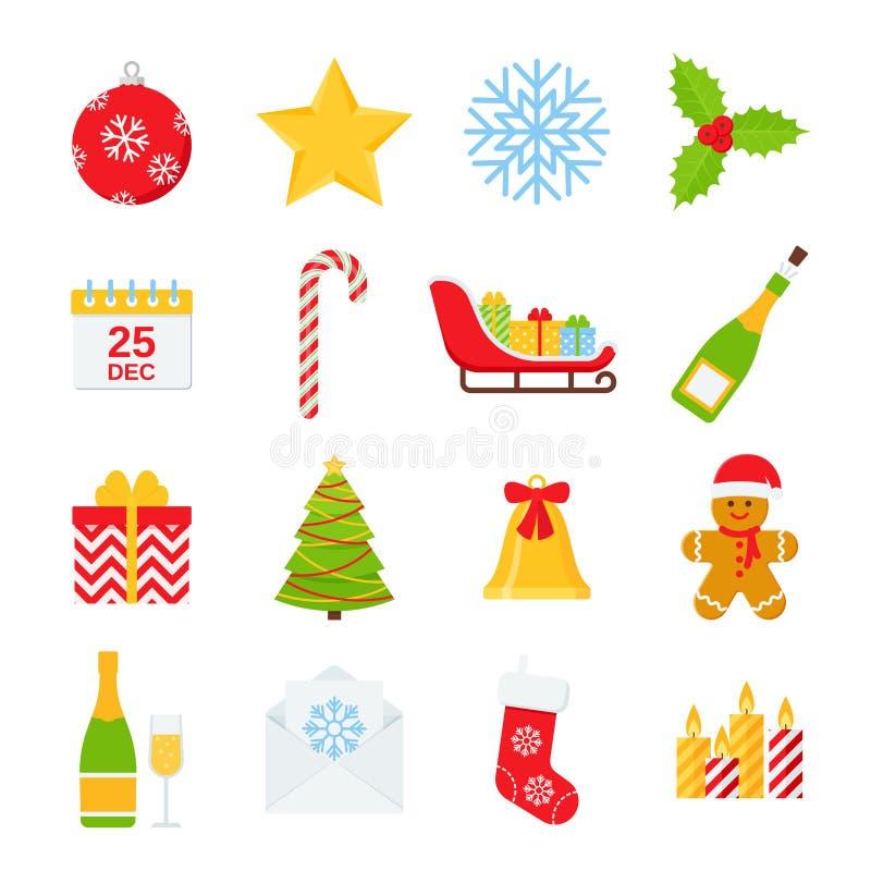 Grupo do ?cone do inverno do Natal Ilustra??o do vetor no projeto liso ilustração stock