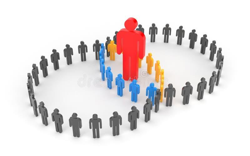 Grupo do contato com líder ilustração do vetor