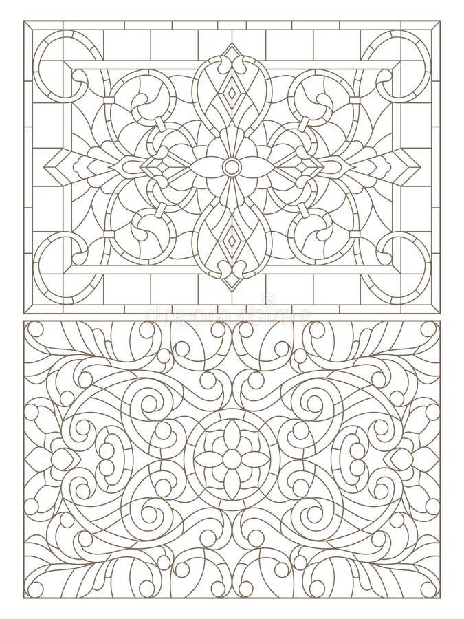 Grupo do contorno com ilustrações do vitral com redemoinhos do sumário e flores, orientação horizontal ilustração do vetor