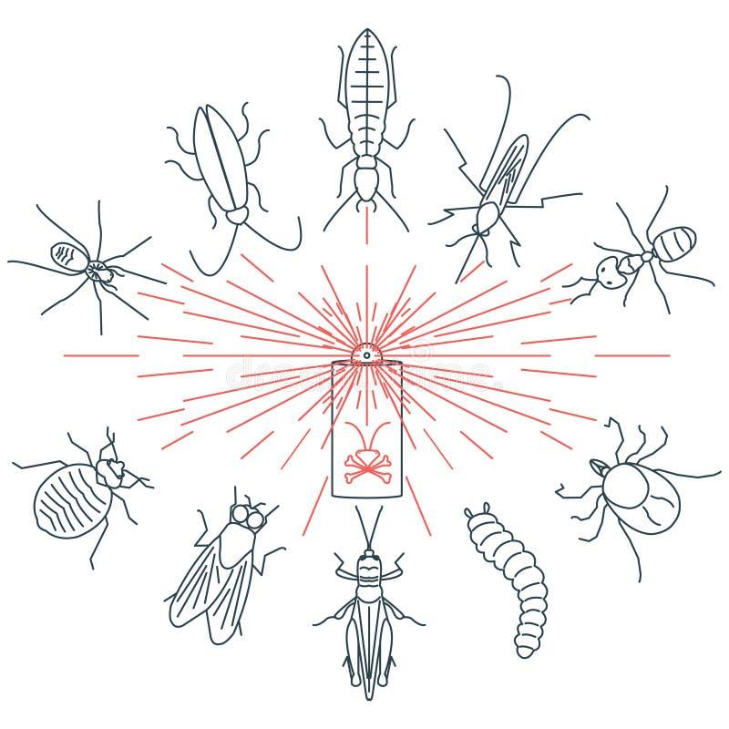 Grupo do controlo de pragas ilustração do vetor