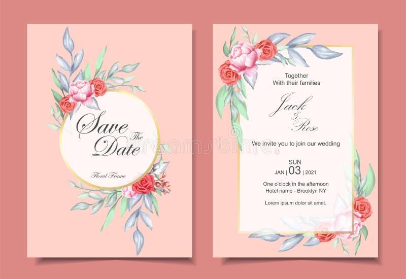 Grupo do convite do casamento de ornamento floral da aquarela e de quadro dourado com conceito de projeto elegante da cor Rosas e ilustração do vetor