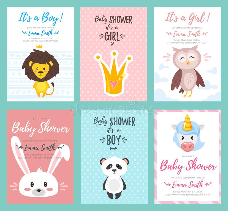 Grupo do convite da festa do bebê ilustração royalty free