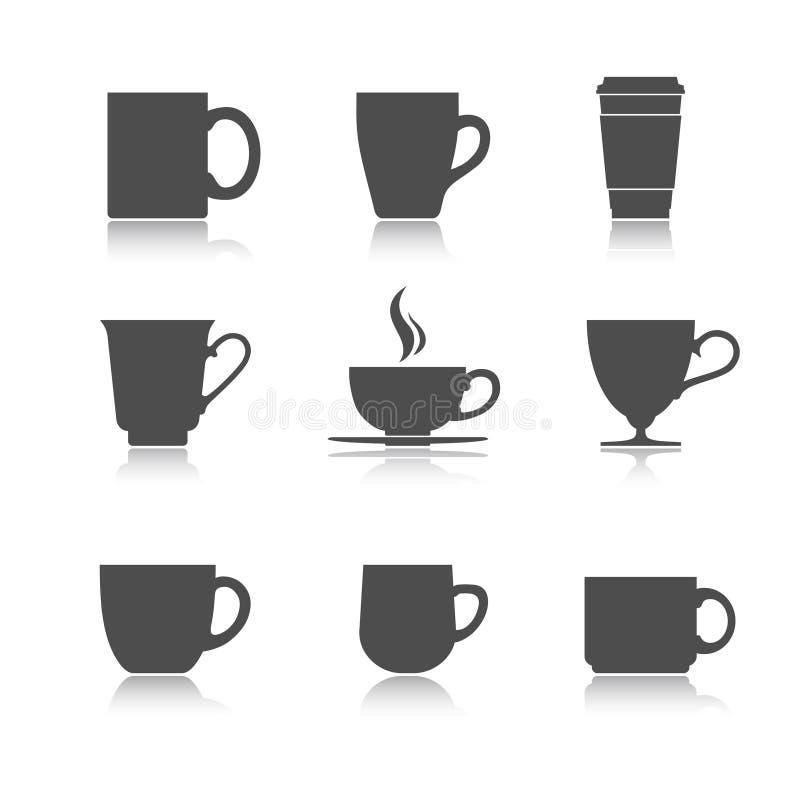 Grupo do copo de chá do vetor fotos de stock