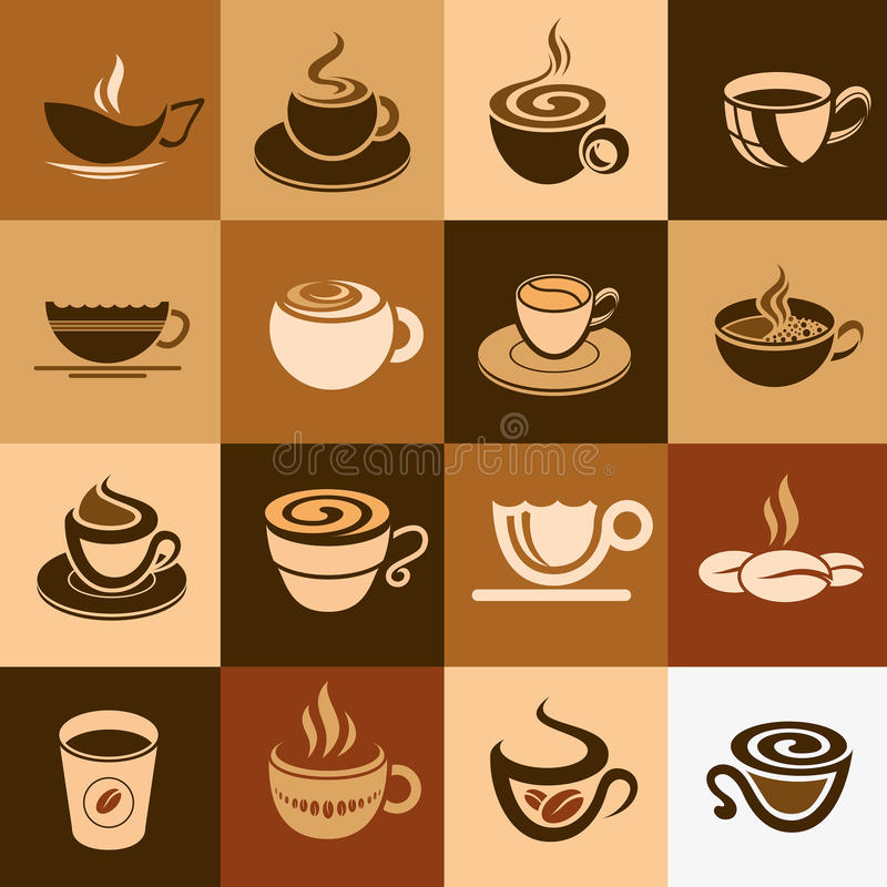 Grupo do copo do café e de chá, coleção do ícone. ilustração stock