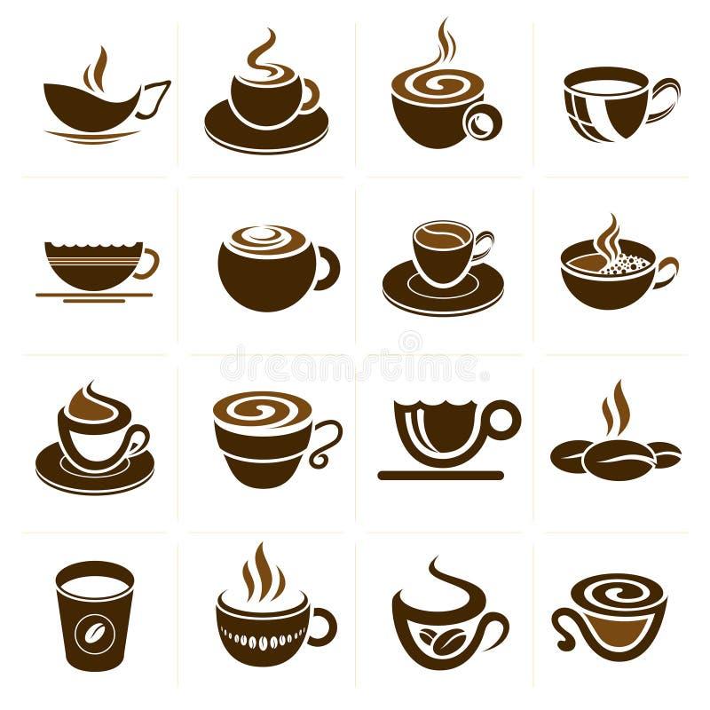 Grupo do copo do café e de chá, coleção do ícone. ilustração do vetor
