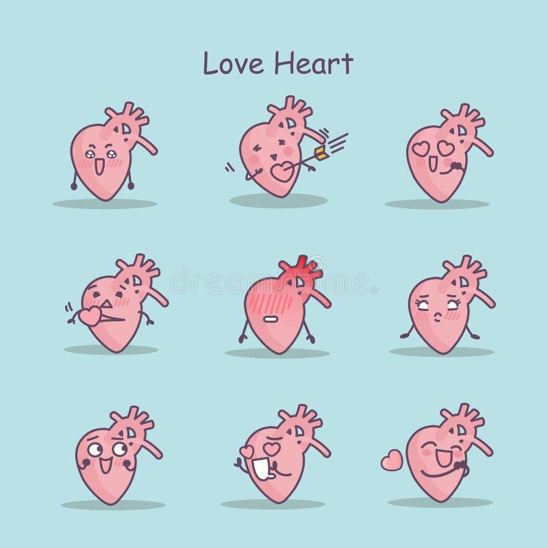 Grupo do coração dos desenhos animados do amor ilustração stock